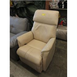 Ivory Leather Arm Chair