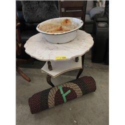 Marble Top Table, Rug & Enamel Bowl
