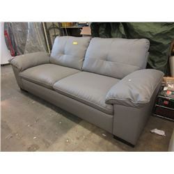 "New 82"" Grey Bonded Leather Sofa"
