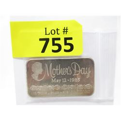 "1 Troy Oz. Fine Silver ""Mother's Day 1985"" Bar"
