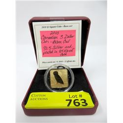 24KT Gold Plated Sterling Silver  Barn Owl Coin