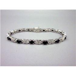 Ladies Blue Sapphire & Diamond Tennis Bracelet