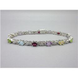 Multi-Gemstone & Diamond Tennis Bracelet