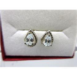 New Blue Topaz & Diamond Stud Earrings