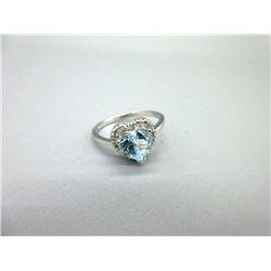 Blue Topaz & Diamond Sweetheart Ring