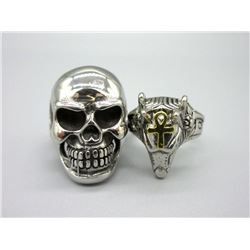 Man's Biker Skull Ring & Anubis Head Ring