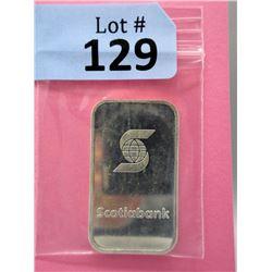 1 Oz Scotia Bank .999 Fine Silver Bar