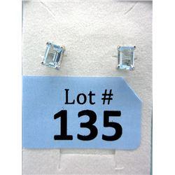 New Sterling Silver Blue Topaz Stud Earrings