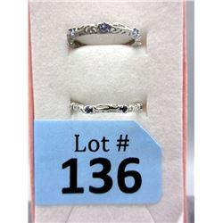 2 Sterling Silver Gemstone Band Rings