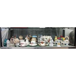 Shelf Lot of China, Glass and Wood Collectables