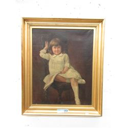 Vintage Oil on Canvas Portrait of Young Girl