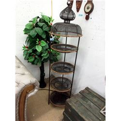Metal & Wire Plant Stand & Faux Cherry Tree