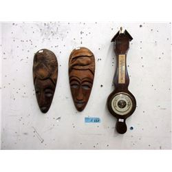 Vintage Barometer & 2 Carved Wood Wall Masks