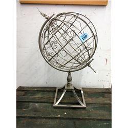 "Metal Spinning Globe Decoration - 24"" x 14"" wide"