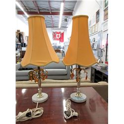 """Pair of Vintage 22"""" Table Lamps - Original Shades"""
