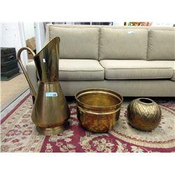 Brass Floor Vase, Planter & Round Vase