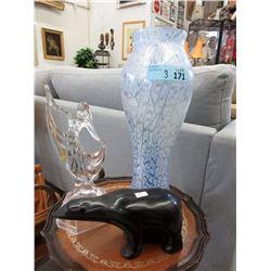 "Carved Stone Bear, Glass Figurine & 15"" Vase"