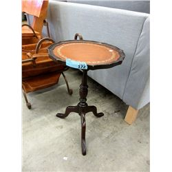 Vintage Leather Topped Pie Crust Wine Table