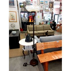 Vintage Metal Floor Lamp with Glass Shade
