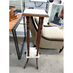"""Wood and Marble Plant Stand - 12 x 12 x 40"""" Tall"""