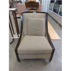 Wood Framed Fabric Arm Chair with Cushion