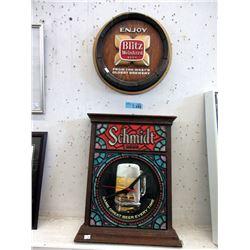 Schmidt Beer Wall Clock & 2D Blitz Wall Ad