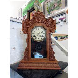 Antique Carved Oak Gingerbread Clock