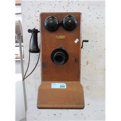 Vintage Western Electric Oak Wall Phone