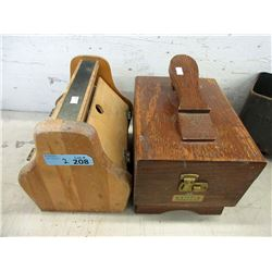 2 Vintage Wood Shoe Shine Kits & Contents