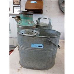 Galvanized Cream Can, Watering Can & Bucket