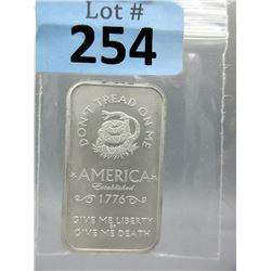 "1 Oz. ""Don't Tread on Me"" .999 Silver Bar"