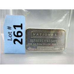1 Oz National Refiners .999 Silver Investor Bar