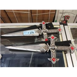 2 New Stainless Steel Knives with Sheaths