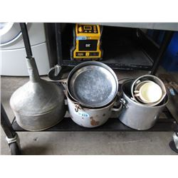 Large Galvanized Funnel and Assorted Camping Pots
