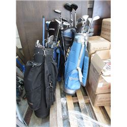4 Golf Bags and Assorted Clubs
