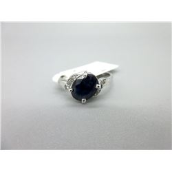 10KT White Gold and Sapphire and Diamond Ring