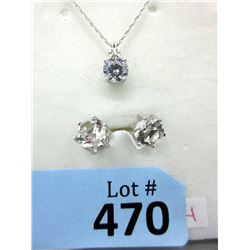 Sterling Silver & Crystal Necklace & Earring Set