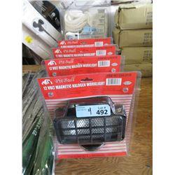 4 New 12 Volt Magnetic Halogen Work Lights
