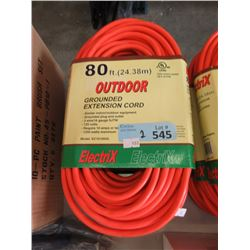 2 New 80 Foot Grounded Extension Cords