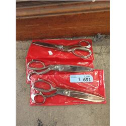 "3 New Pairs of Kare 10"" Stainless Steel Scissors"