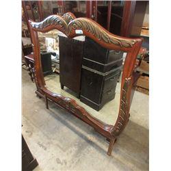 Large Wood Framed Dresser Mirror