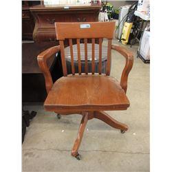 Vintage Swivel Oak Office Chair on Casters