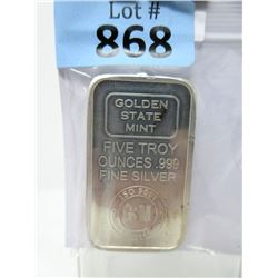 5 Troy Ounce .999 Fine Silver Bullion Bar