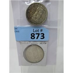 Two 1954 Canadian 80% Silver Dollar Coins