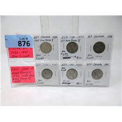 Six Vintage Canadian 80% Silver Quarters