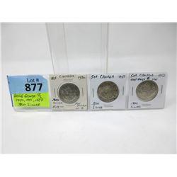 3 Vintage 80% Silver Canadian Half Dollar Coins