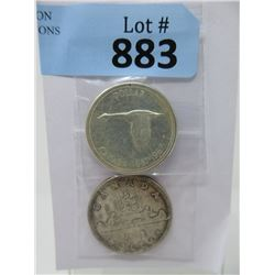 Two Vintage Canadian 80% Silver Dollar Coins