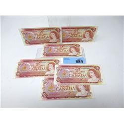 Six 1974 Canadian $2 Bills - Near Mint