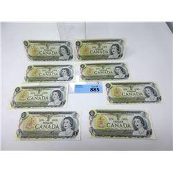Eight 1973 Canadian $1 Bills - Near Mint
