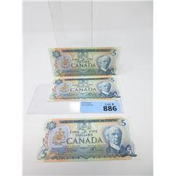 Three 1979 Canadian $5 Bills - Near Mint